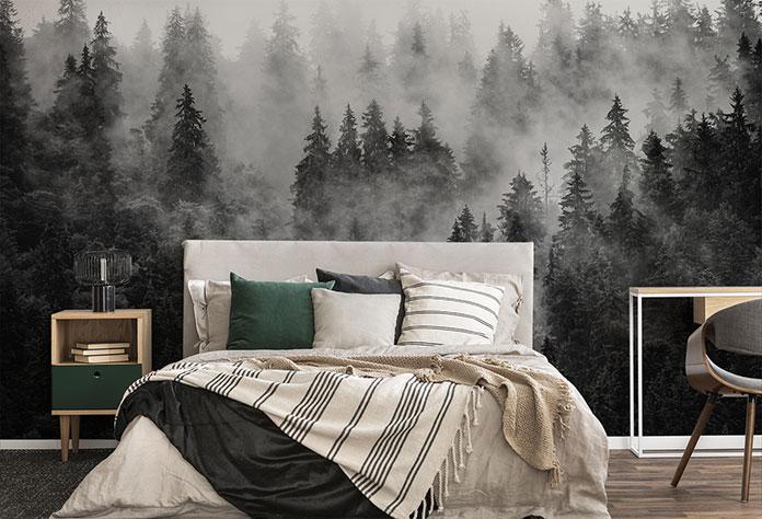 Eleganckie połączenie: fototapeta, drzewa, czarno-biała kolorystyka